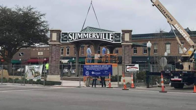 Crews placed a new sign over the entrance to Hutchinson Square. (Source: Live 5)